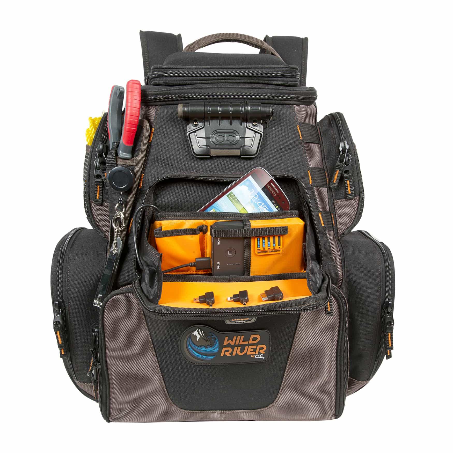 Wild river backpacks offer power supply led lighting for Fishing tackle backpack