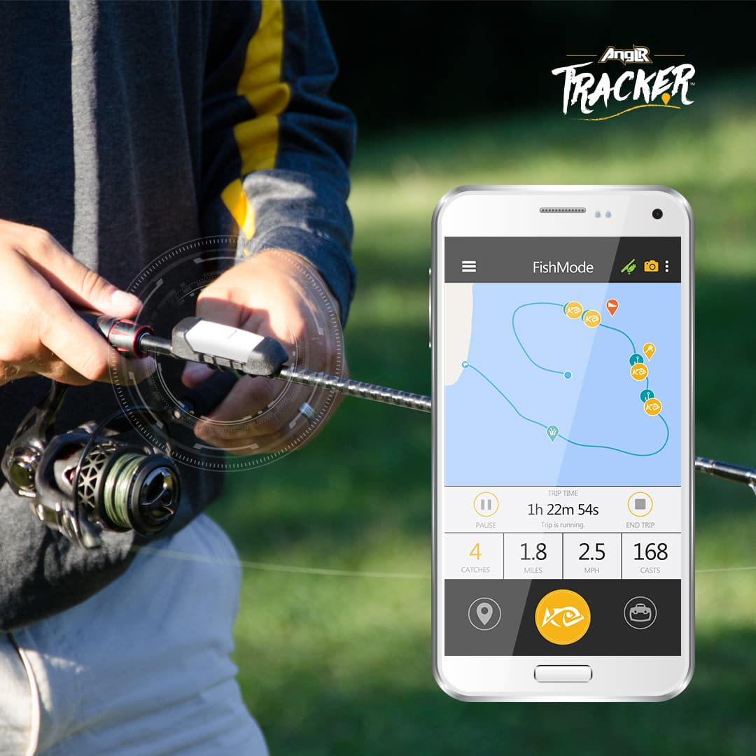This wireless clip attaches to your rod to log fishing data for Fish tracker app